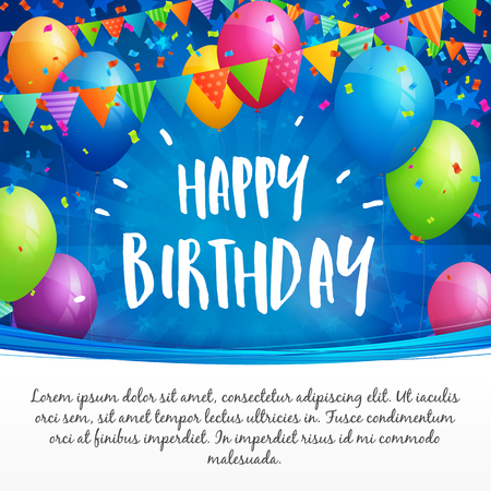 Birthday greeting card with balloons, flags and confetti on blurred blue background with stars. White space for text.