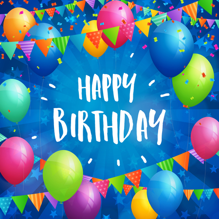 greeting card: Birthday greeting card with balloons, flags and confetti on blurred blue background with stars.