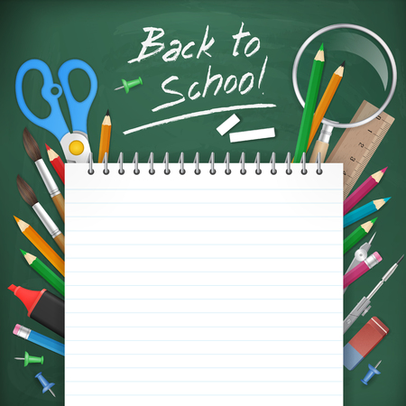 teaching crayons: back to school poster background. Blank notepad paper on chalkboard with school supplies. vector illustration. isolated object.