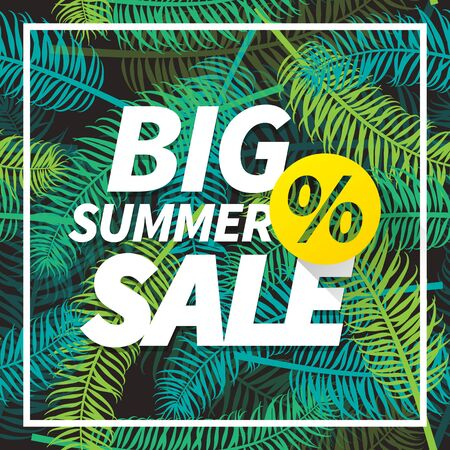Seasonal big summer sale business advertisement text with percent sign on palm leaves background. Editable vector design for web or print. Illustration