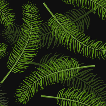 Seamless green palm leaf pattern background. Tropical leaves backdrop for print or website