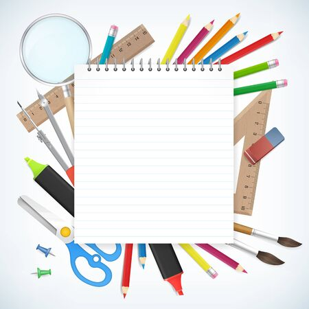 notepads: Blank notepad paper with school supplies business background.