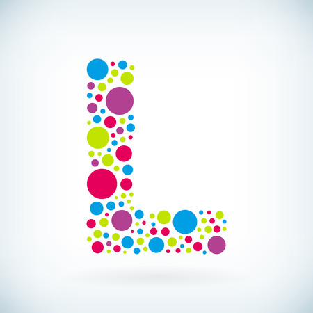 Modern letter L circle stroke colorful symbol icon.