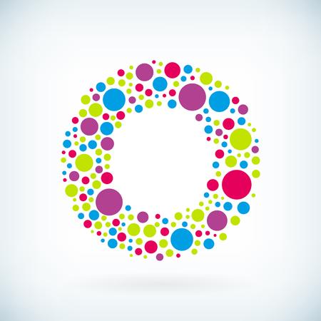 Moderne lettre O cercle course symbole coloré icône.