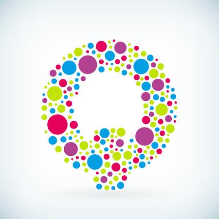 Modern letter Q circle stroke colorful symbol icon.
