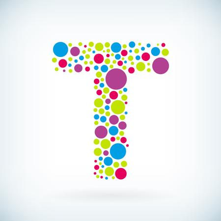 Modern letter T circle stroke colorful symbol icon. Illustration