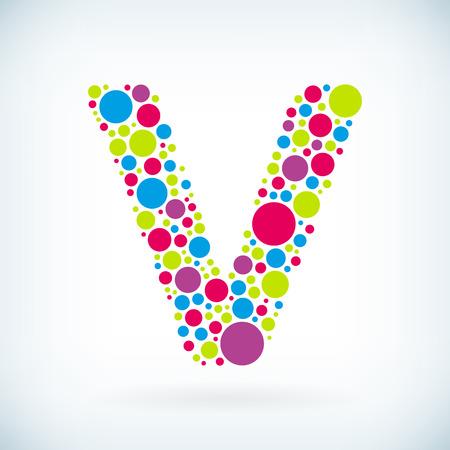 Modern letter V circle stroke colorful symbol icon.