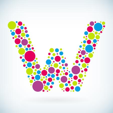 Modern letter W circle stroke colorful symbol icon.