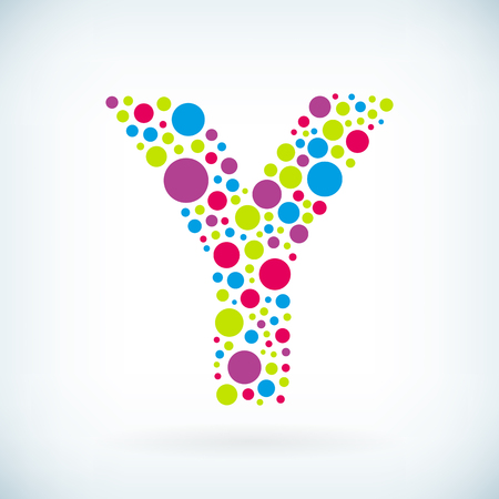 Modern letter Y circle stroke colorful symbol icon.
