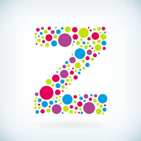 letter z: Modern letter Z circle stroke colorful symbol icon.