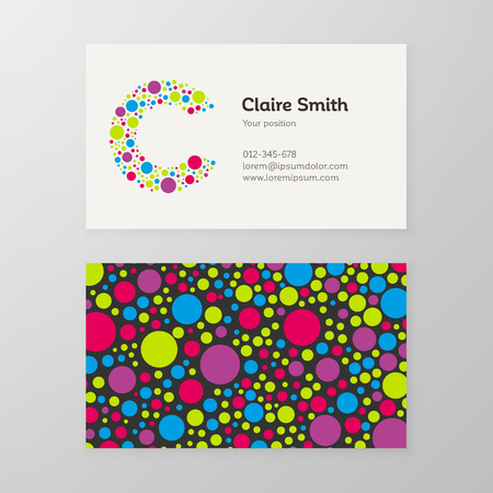 Modern letter C circle colorful Business card template