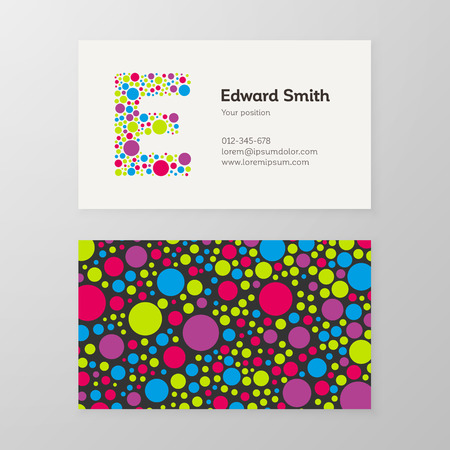 e card: Modern letter E circle colorful Business card template