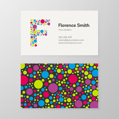 Modern letter F circle colorful Business card template. 向量圖像