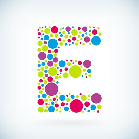 Modern letter E circle stroke colorful symbol icon