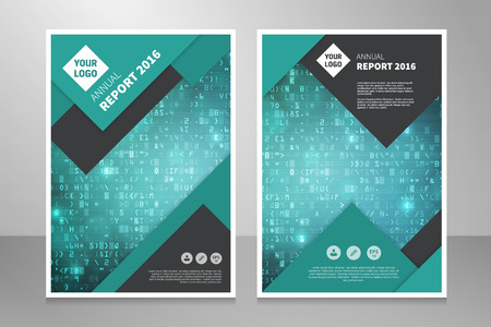 business software: Modern editable annual report, brochure or book design template with data code abstract background. Illustration