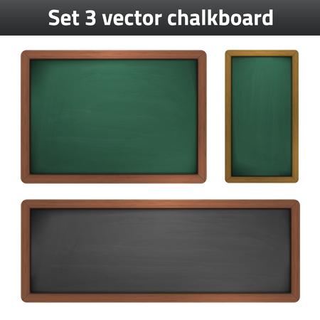 set 3 chalkboard school supplies icon