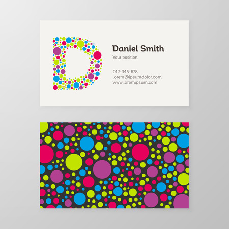 Modern letter D circle colorful Business card template
