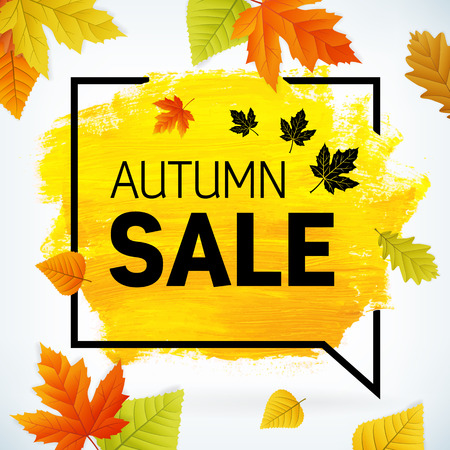 Yellow hand paint artistic dry brush stroke with business text in speech bubble and leaves. Watercolor acrylic autumn sale background for print, web design and banners. Realistic vector texture. 向量圖像