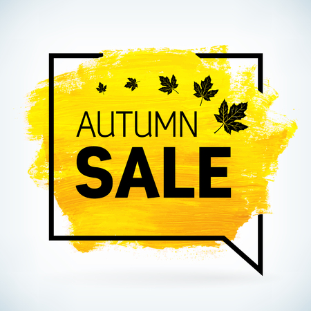 Yellow hand paint artistic dry brush stroke with business text in speech bubble. Watercolor acrylic autumn sale background for print, web design and banners. Realistic vector texture.