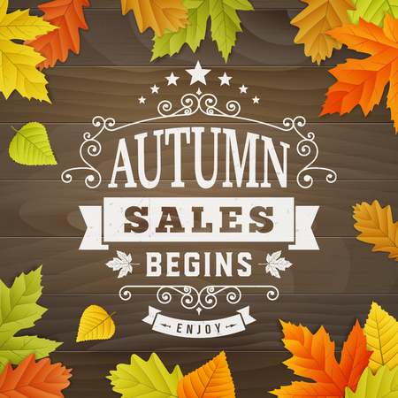 Business background text autumn sales begibs with colored leafs on wood background. editable. isolated.