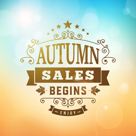 autumn sales begins business advertisement on blurred background. Editable vector sign.