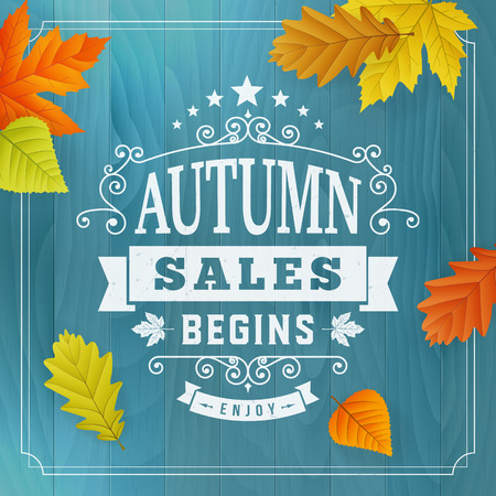 Seasonal autumn business sales advertisement on blue wood plankbackground with leafs. Editable vector, isolated object.