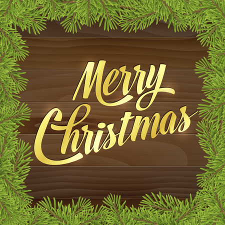 Gold Merry christmas on wood plank background with tree twig. Vector greeting card. 向量圖像