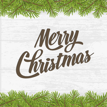 Merry christmas on wood plank background with tree twig. Vector greeting card.