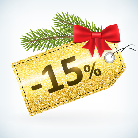 Christmas golden glitter price 15 percent sale vector delivery  with bow nd twig .Isolated from background. layered.
