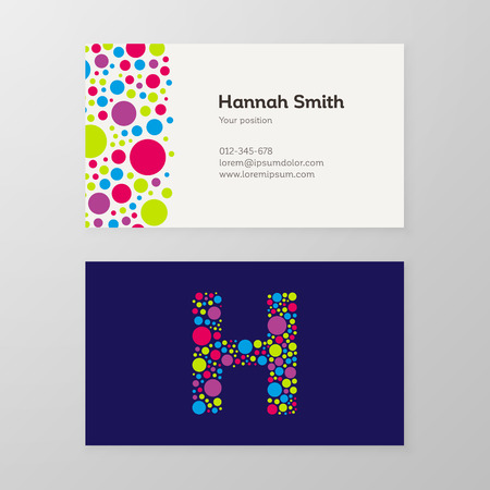 Modern letter H circle colorful Business card template. Vector design. Layered, editable.