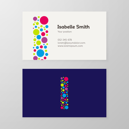 Modern letter I circle colorful Business card template. Vector design. Layered, editable. 向量圖像