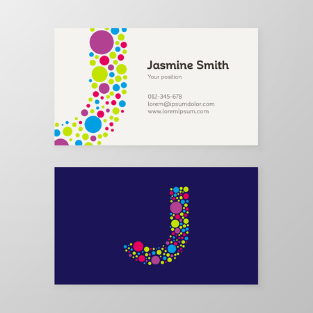 Modern letter J circle colorful Business card template. Vector design. Layered, editable.