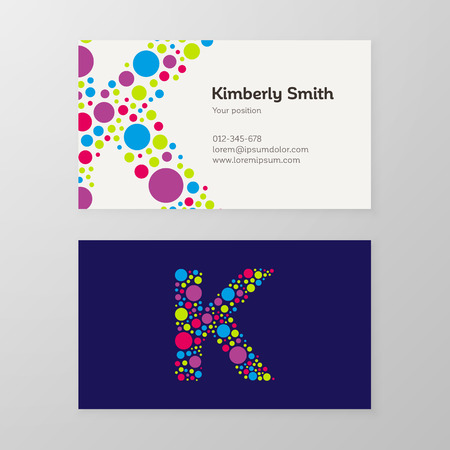 Modern letter K circle colorful Business card template. Vector design. Layered, editable.