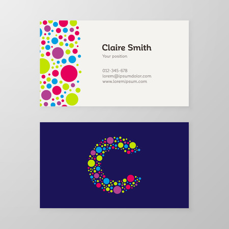 Modern letter C circle colorful Business card template. Vector design. Layered, editable.