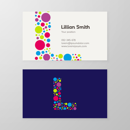 Modern letter L circle colorful Business card template. Vector design. Layered, editable.