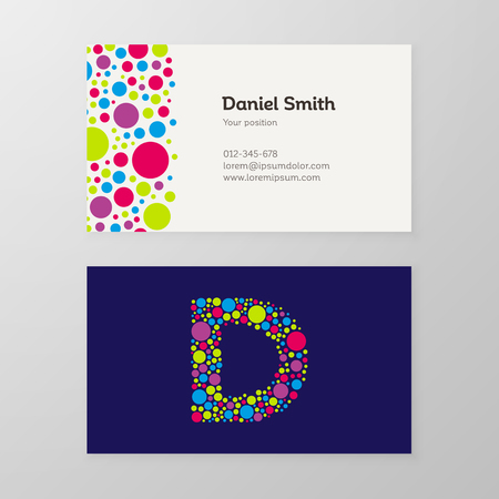 Modern letter D circle colorful Business card template. Vector design. Layered, editable. 向量圖像