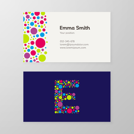 e card: Modern letter E circle colorful Business card template. Vector design. Layered, editable. Illustration