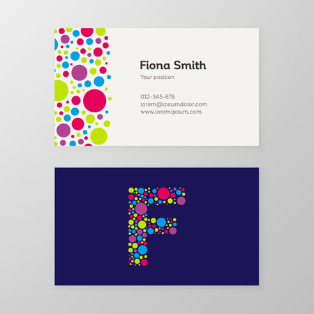 Modern letter F circle colorful Business card template. Vector design. Layered, editable.