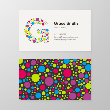 Modern letter G circle colorful Business card template. Vector design. Layered, editable.