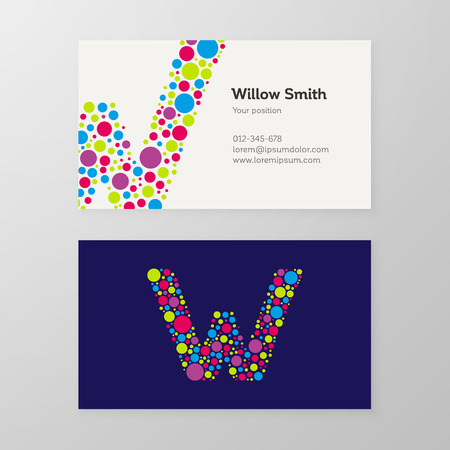 Modern letter W circle colorful Business card template. Vector design. Layered, editable.