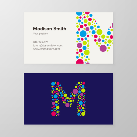 Modern letter M circle colorful Business card template. Vector design. Layered, editable.