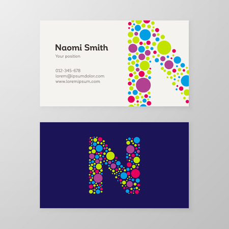 Modern letter N circle colorful Business card template. Vector design. Layered, editable.