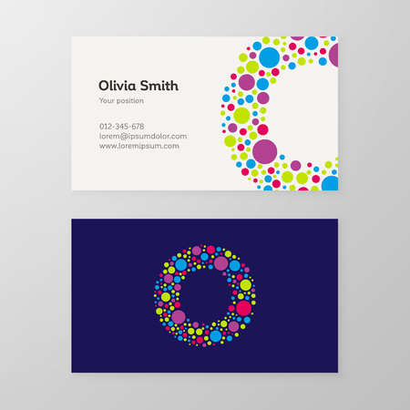 Modern letter O circle colorful Business card template. Vector design. Layered, editable.