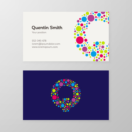 Modern letter Q circle colorful Business card template. Vector design. Layered, editable.