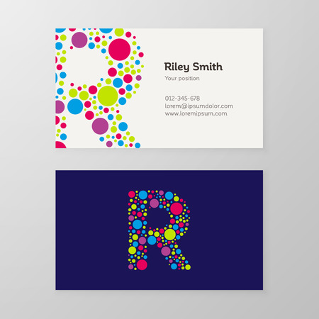 Modern letter R circle colorful Business card template. Vector design. Layered, editable.