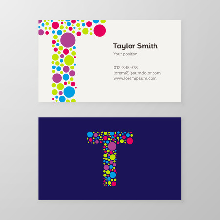 Modern letter T circle colorful Business card template. Vector design. Layered, editable.
