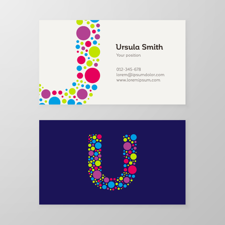 Modern letter U circle colorful Business card template. Vector design. Layered, editable.