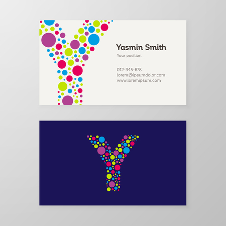 Modern letter Y circle colorful Business card template. Vector design. Layered, editable.