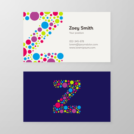 Modern letter Z circle colorful Business card template. Vector design. Layered, editable. 向量圖像