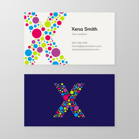 Modern letter X circle colorful Business card template. Vector design. Layered, editable. 向量圖像
